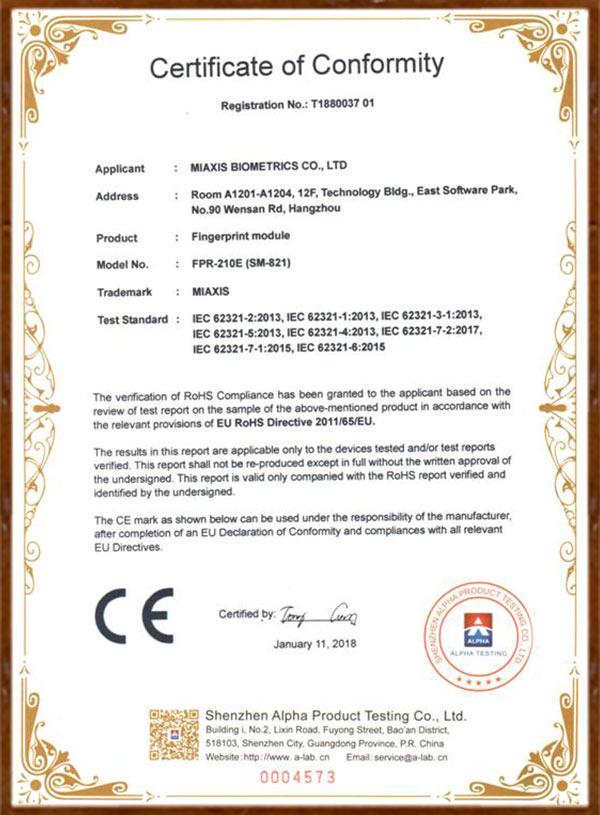 RoHS certificate of fingerprint module FPR-210E (SM-821)