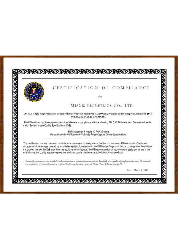 FBI Certified MobileID FAP20 Optical scanner SM-91M