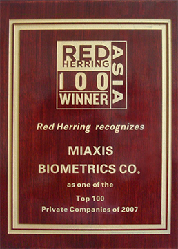 Miaxis Biometrics Named as 'Red Herring 100 Asia' Award Winner for 2007